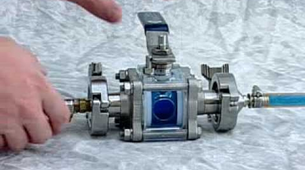 PBM's Self-cleaning flushable ball valve